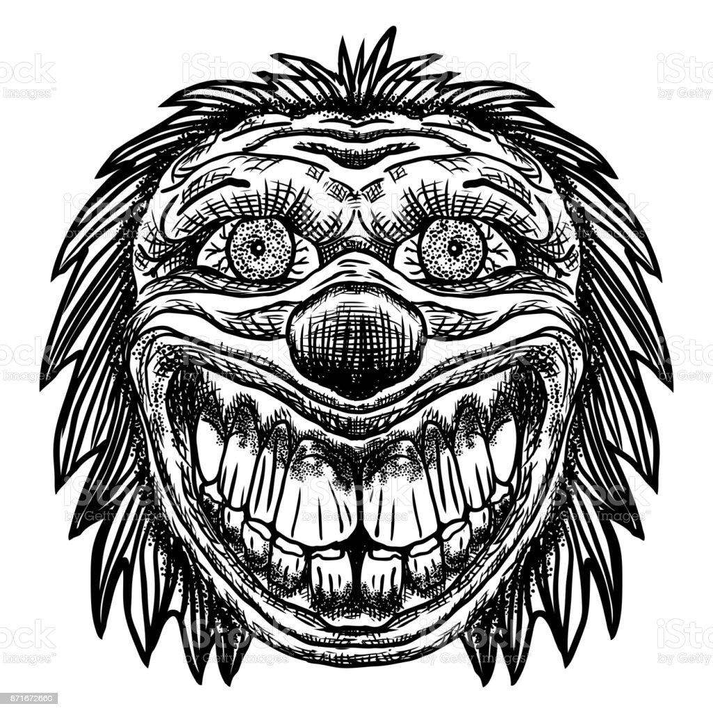 Scary Cartoon Clown Illustration Blackwork Adult Flesh Tattoo