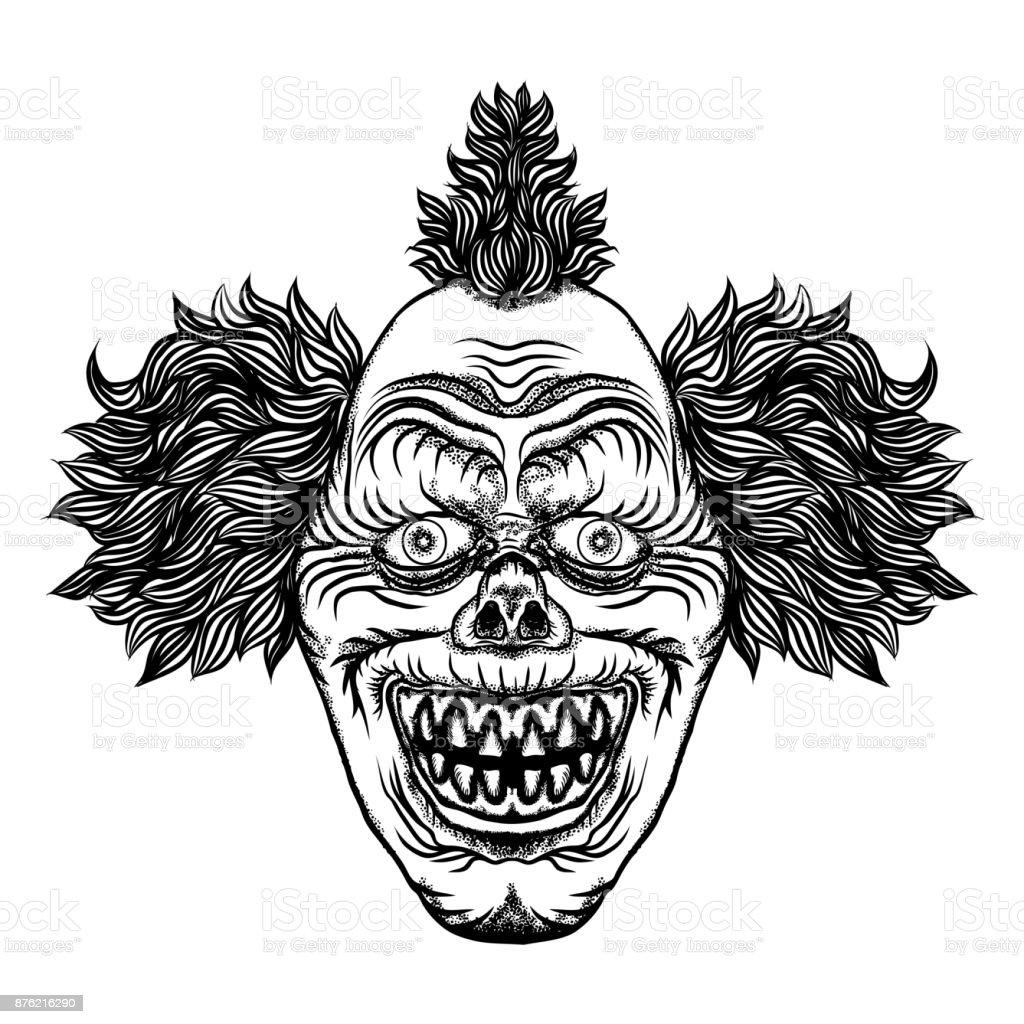 Illustration De Dessin Animé Effrayant De Clown Concept De