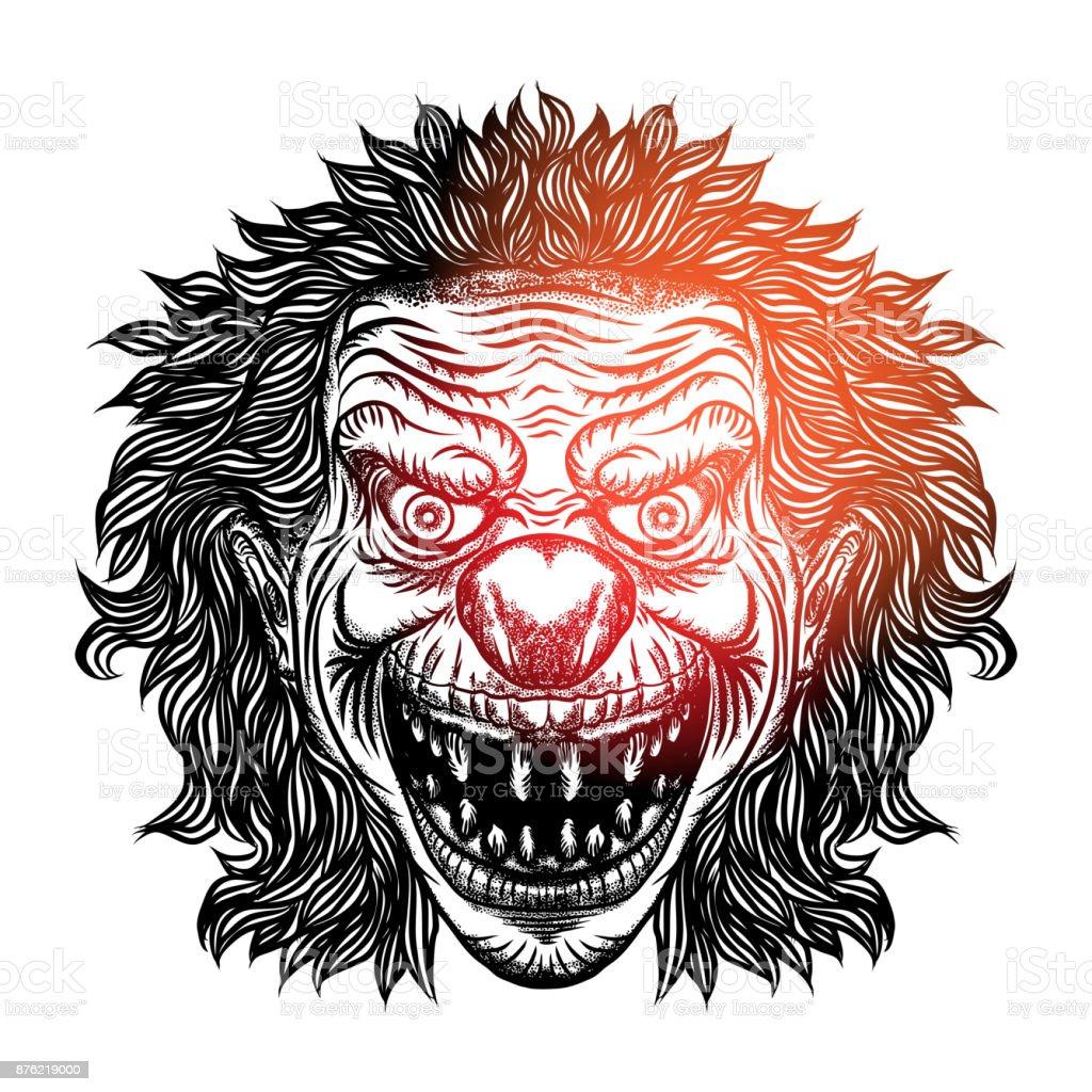 怖い漫画ピエロのイラストですブラックワーク アダルト肉タトゥー概念