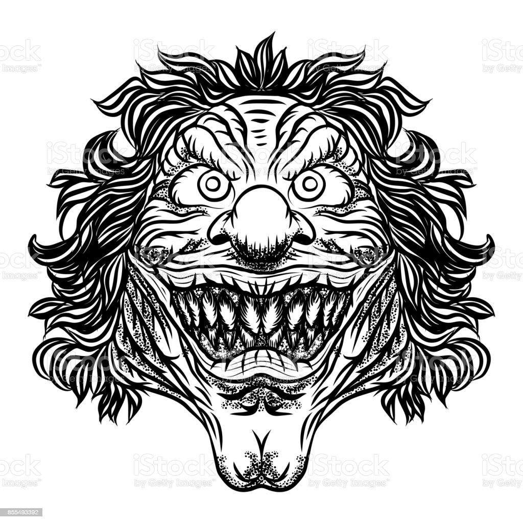 scary cartoon clown illustration horror movie zombie clown face