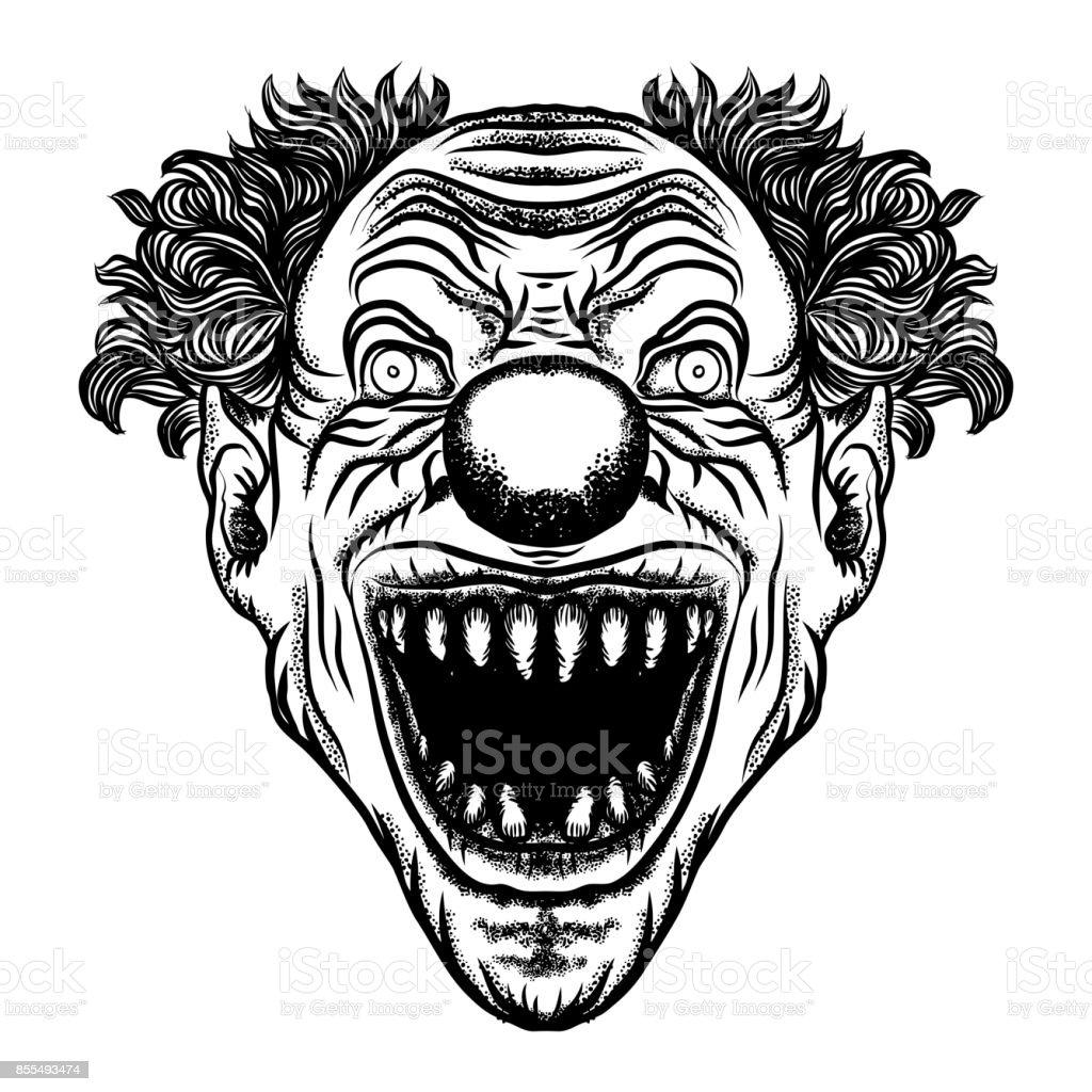 Illustration de dessin anim effrayant de clown personnage - Dessin horreur ...