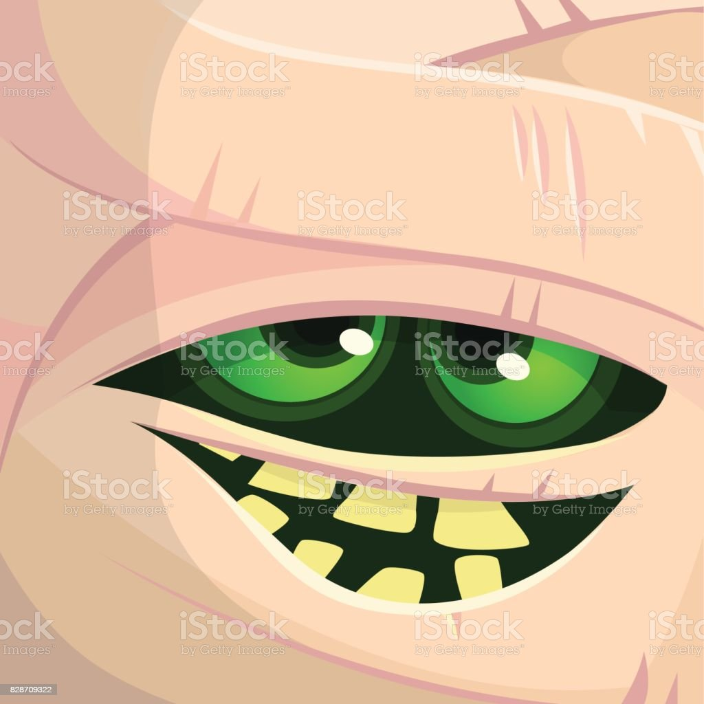 Scary cartoon monster mummy face vector. Cute square avatar or icon. Halloween illustration. Monster Card - Mummy. vector art illustration