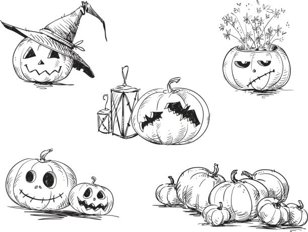 Best Creepy Jack O Lantern Faces Drawing Illustrations