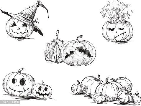 Ilustración de Había Tallado De Scary Halloween Calabazas y más ...
