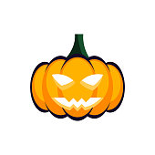 Happy halloween concept. Spooky frightening pumpkin. Isolated pumpkin with evil face. Curving orange pumpkin. White background. Vector illustration, flat,clip art