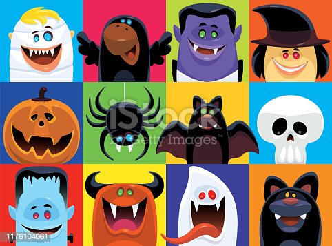vector illustration of twelve scary characters icons