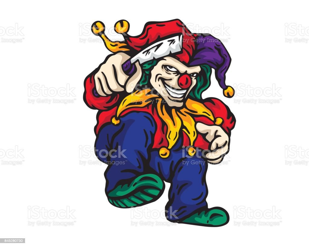 Scary Clown Character Holding A Knife Illustration vector art illustration