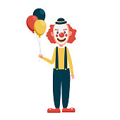 istock Scary clown creepy, spooky, horror faces with balloons. 1207512531