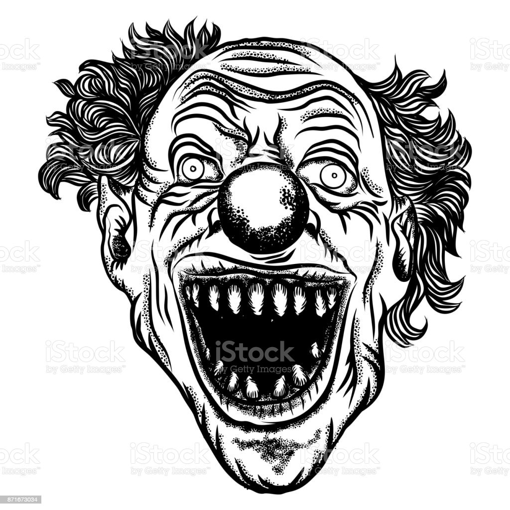 Scary Clown Head Concept Of Circus Horror Film Character