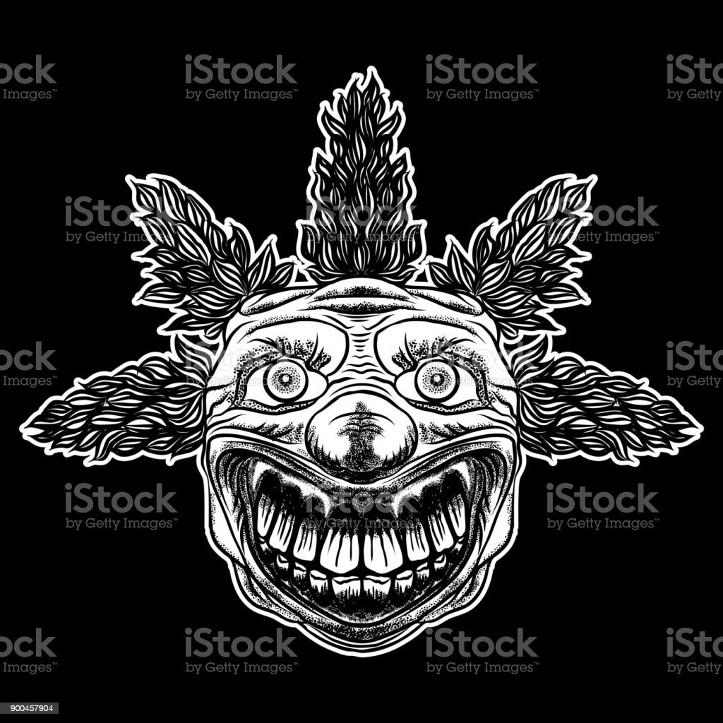 Scary Clown Head Concept Of Circus Horror Film Character Laughing