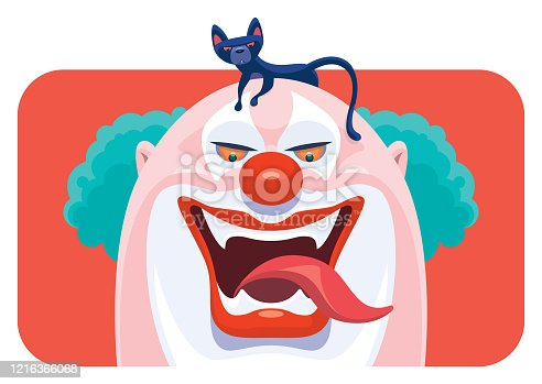 istock scary clown laughing with black cat 1216366068