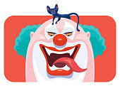 vector illustration of scary clown laughing with black cat