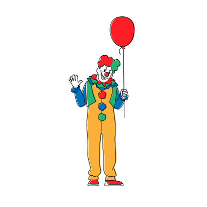 Scary Clown with Balloon. Animator in Costume, Wig, Red Nose and Creepy Face Isolated on White Background. Halloween