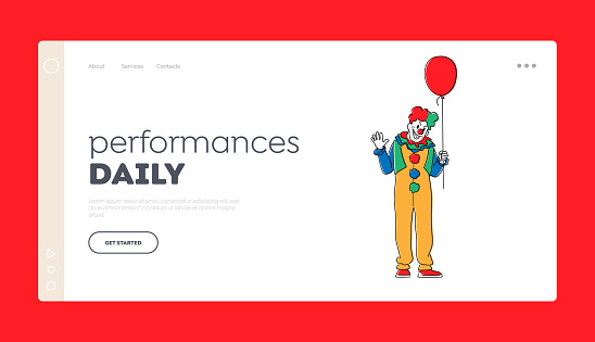 Scary Clown with Balloon Landing Page Template. Male Animator Wearing Funster Costume, Wig, Red Nose and Creepy Face