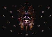 Mezzotint illustration of an all seeing Demon Guardian with eyeball pattern.