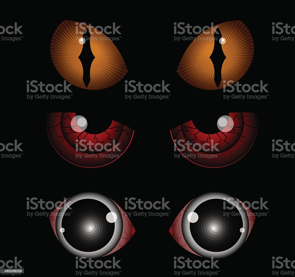 Scary eyes vector art illustration
