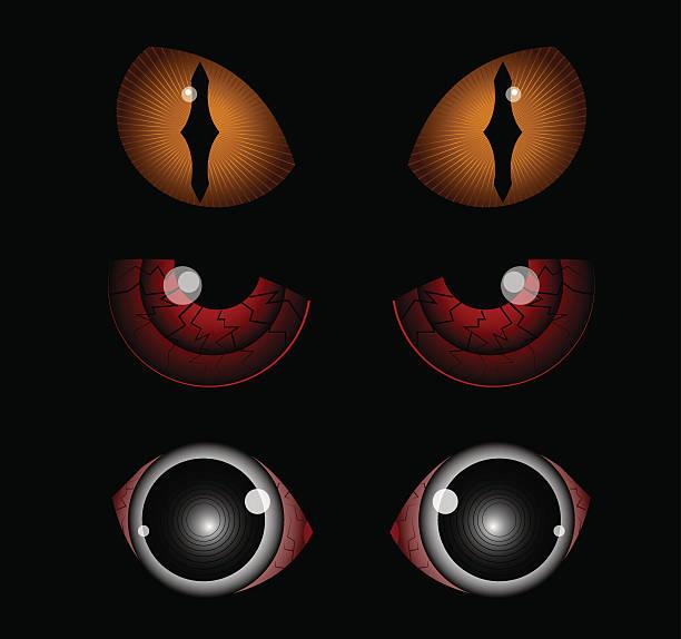 scary eyes - dragon eye stock illustrations, clip art, cartoons, & icons