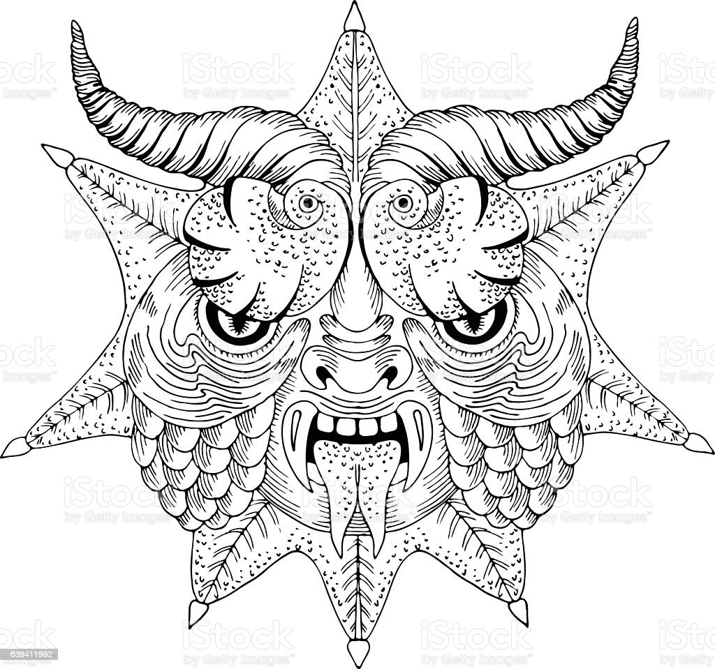 Scary face dragon mask - vector hand drawn illustration vector art illustration