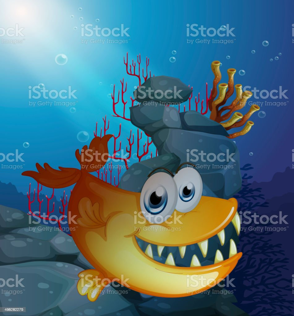 Scary fish under the sea near the rocks vector art illustration