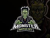 Frankenstein sport logo design. Monster mascot vector illustration logo. Scary frankenstein mascot design, Emblem design for esports team. Vector illustration