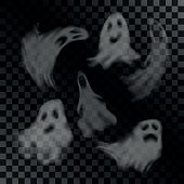 Scary ghost characters set