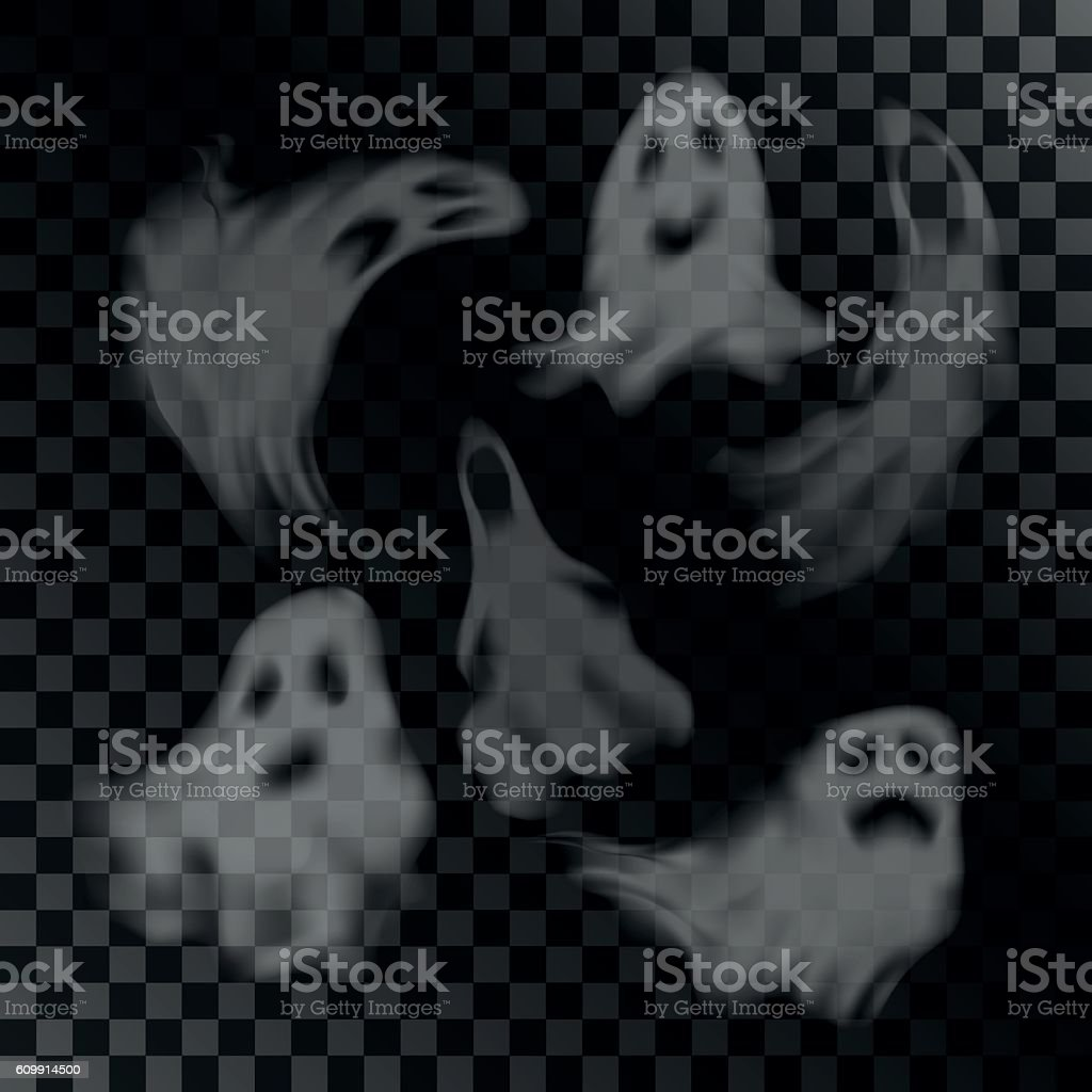 Scary ghost characters set vector art illustration