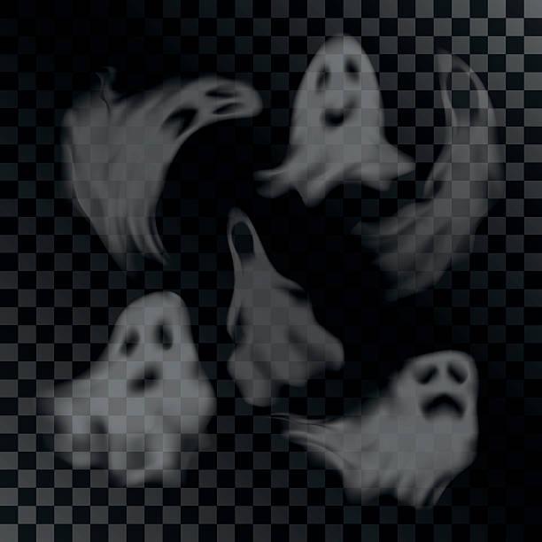 bildbanksillustrationer, clip art samt tecknat material och ikoner med scary ghost characters set - spöke