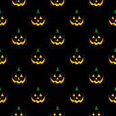Vector seamless pattern of scary glowing pumpkins.