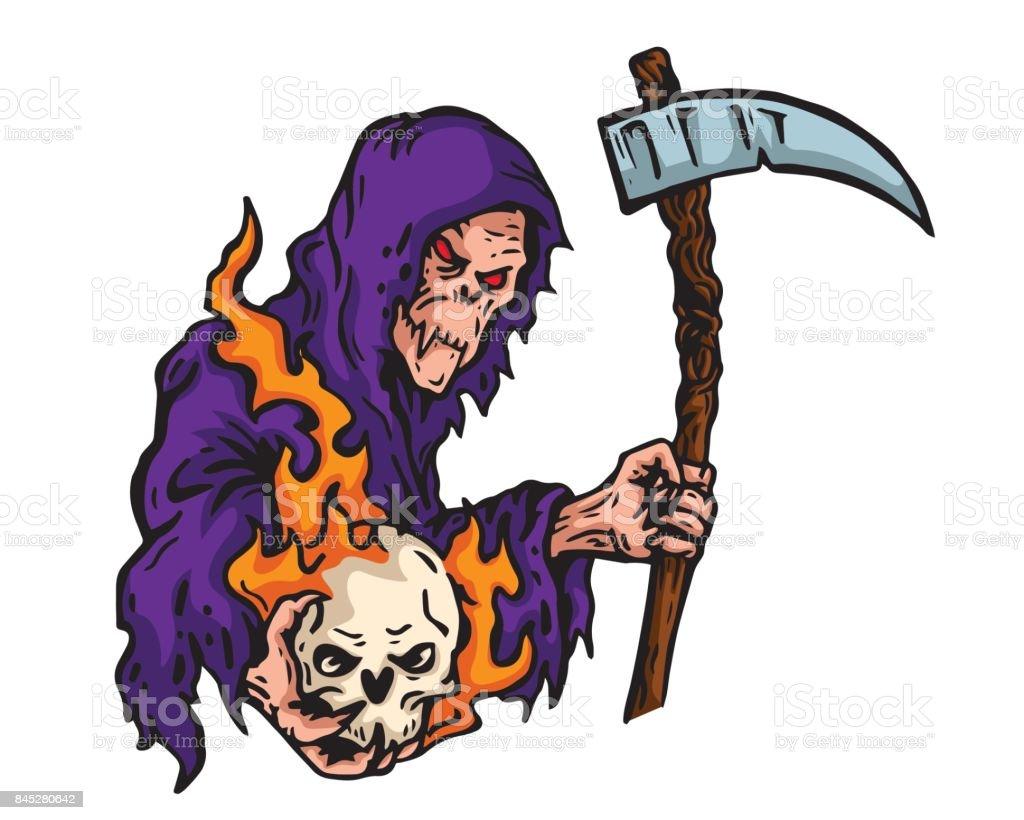Scary Grin Reaper Holding A Flaming Skull Illustration vector art illustration