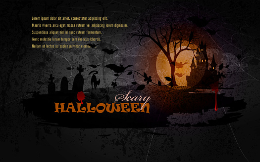 Scary Halloween Background with Grunge