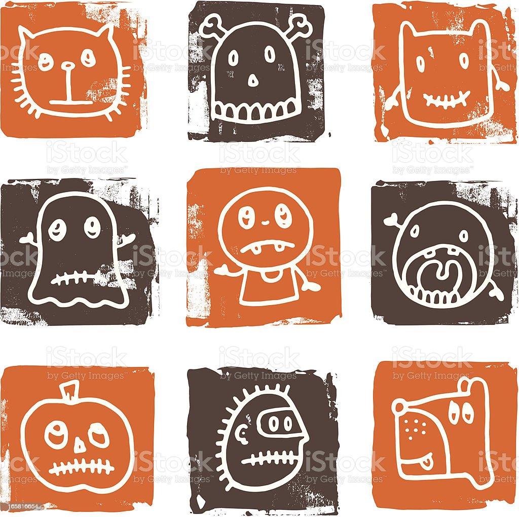 Scary halloween block icons royalty-free stock vector art