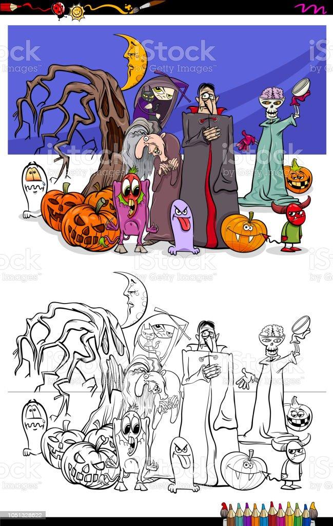Ilustración de Personajes De Dibujos Animados De Halloween De Miedo ...