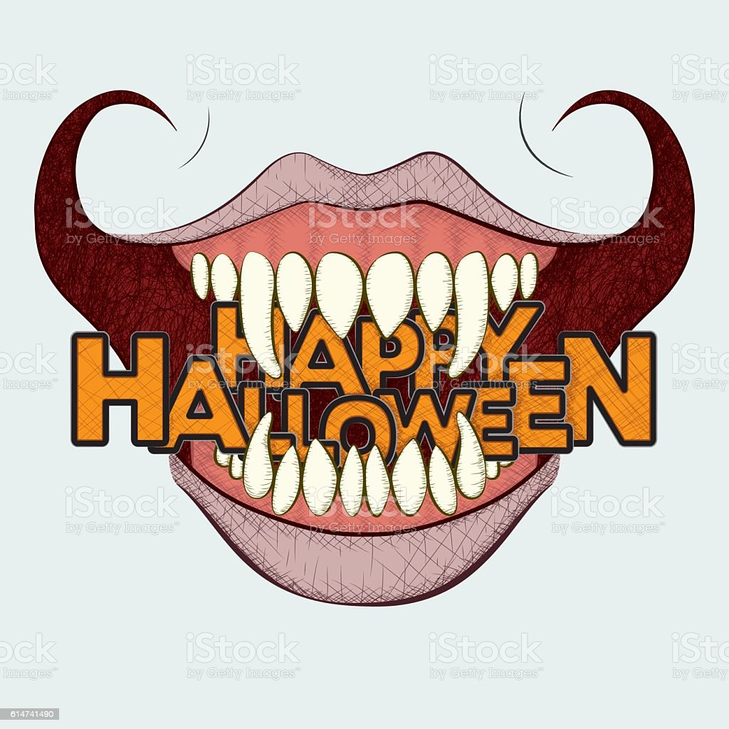 Scary Halloween Curled Grin vector art illustration