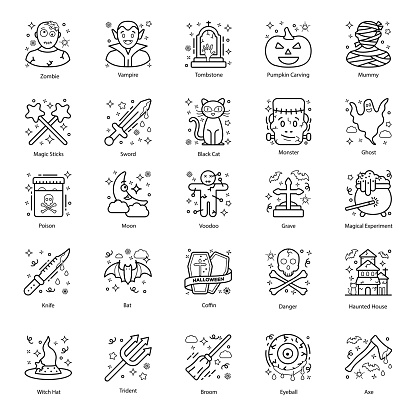 Scary Halloween line  Icons Pack
