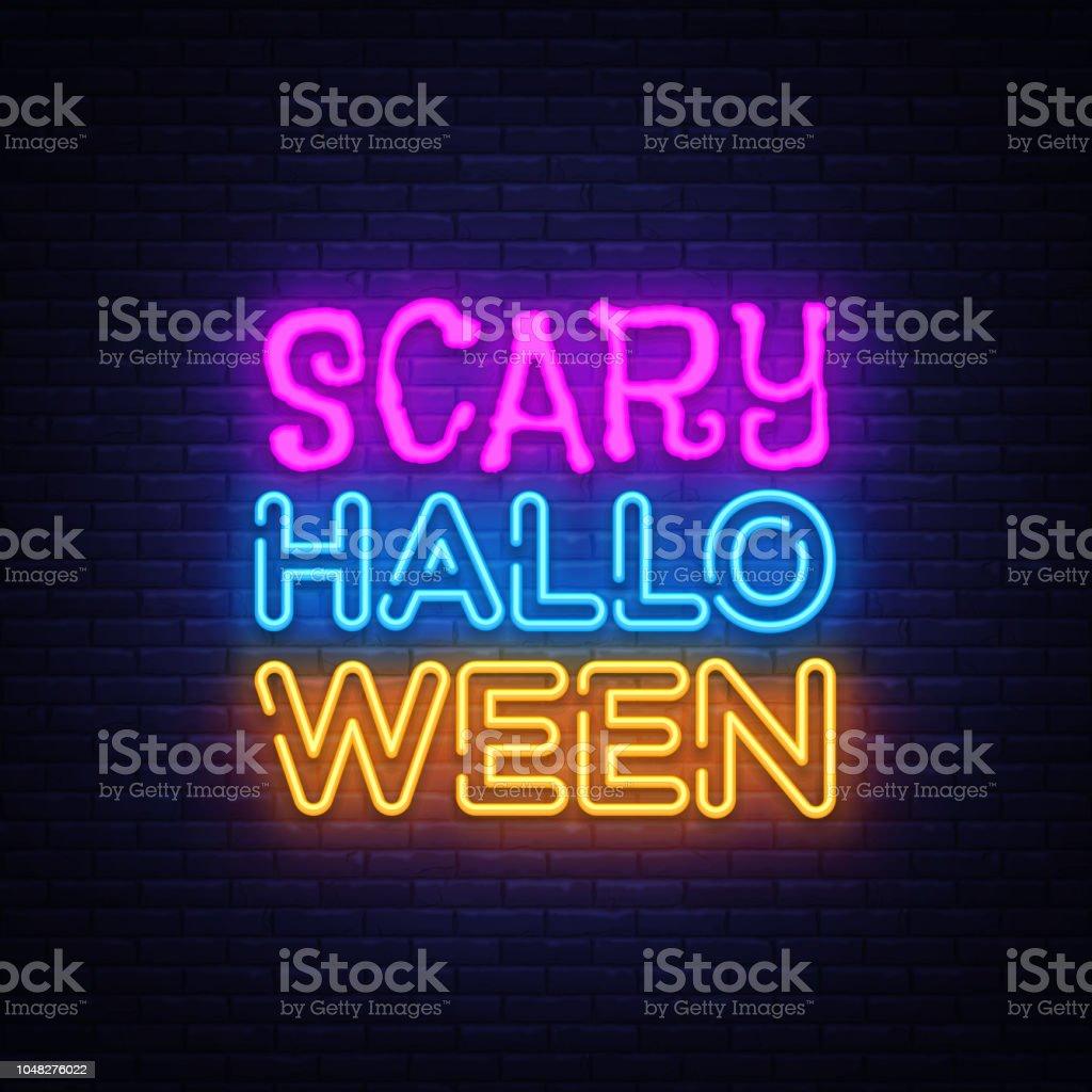 Scary Halloween Neon Text Vector Design Template Halloween Neon Logo ...