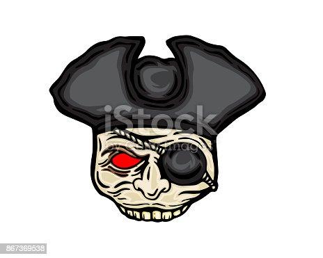 istock Scary Halloween Pirate Skeleton Mask Costume Illustration 867369538