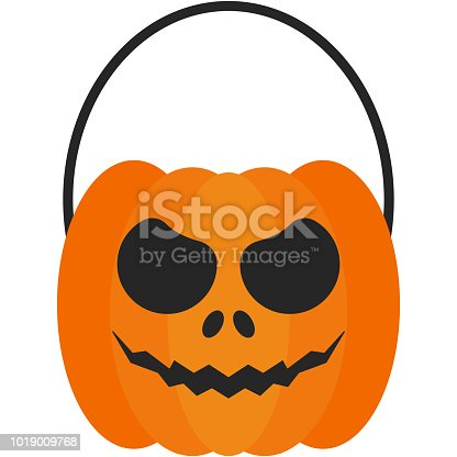 Halloween Jack O' Lantern pumpkin candy bucket with spooky face