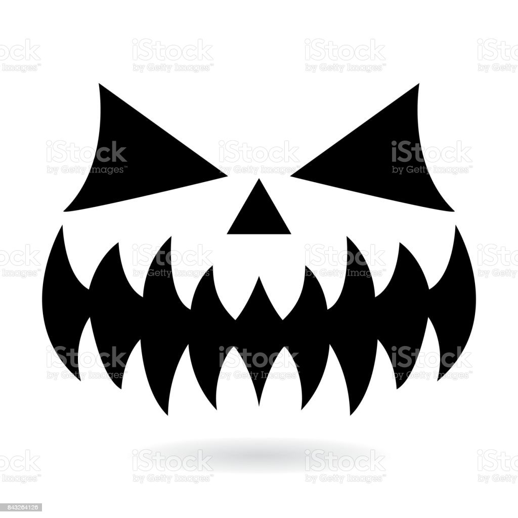 Scary Halloween Pumpkin Face Vector Design Ghost Or Monster