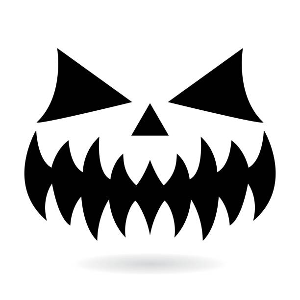 scary halloween pumpkin face vector design ghost or monster mouth icon with spooky eyes