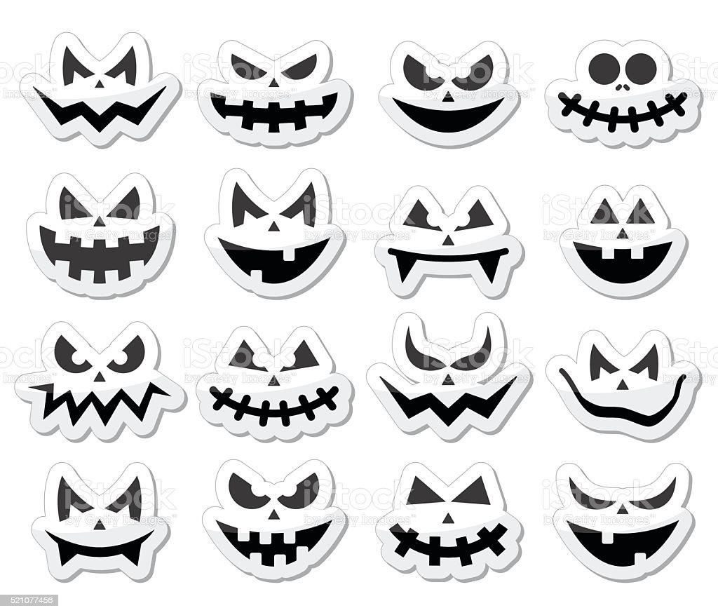 Beängstigend Halloween Kürbis Gesichter Symbole Satz Stock Vektor