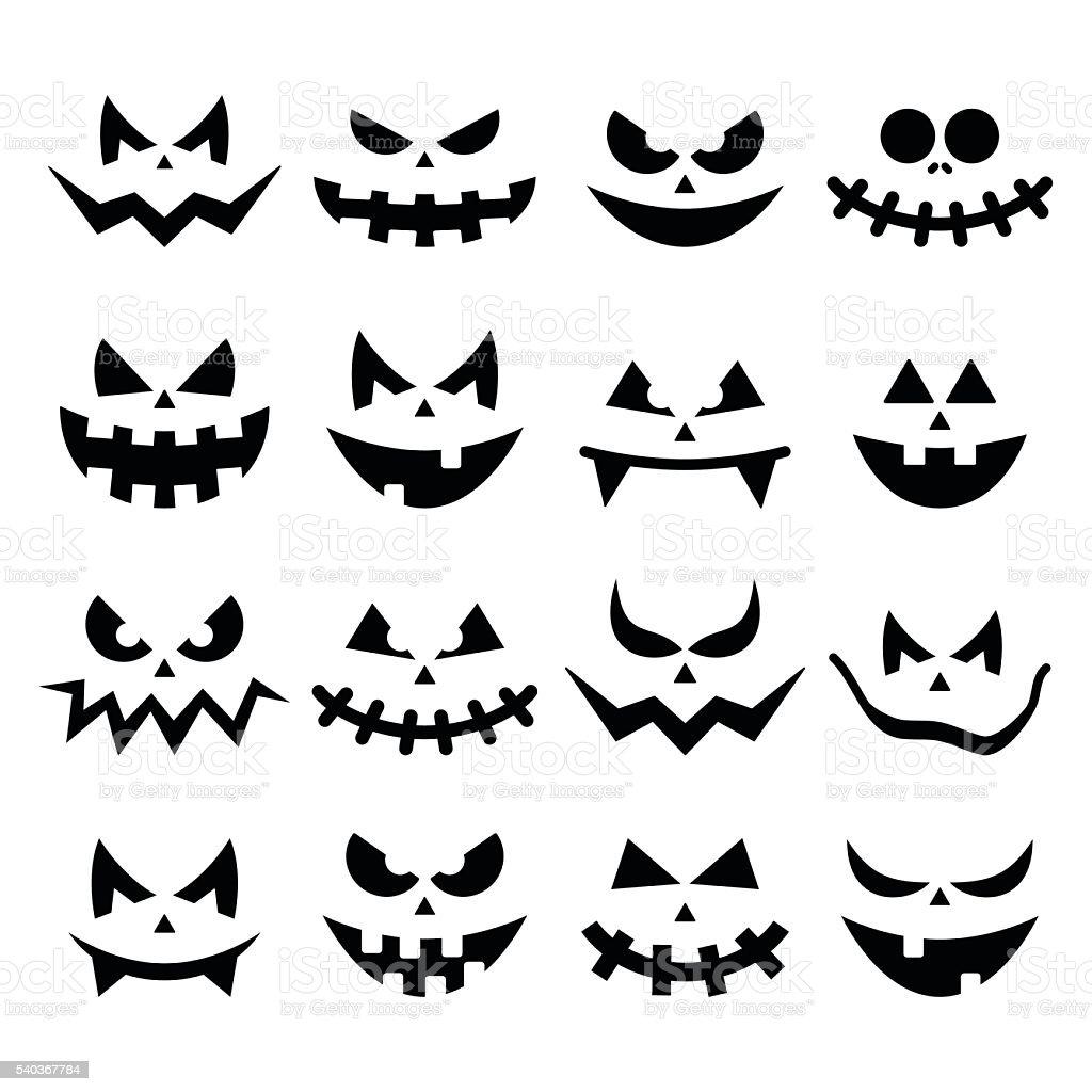 Download Spooky Pumpkin Faces Halloween Background