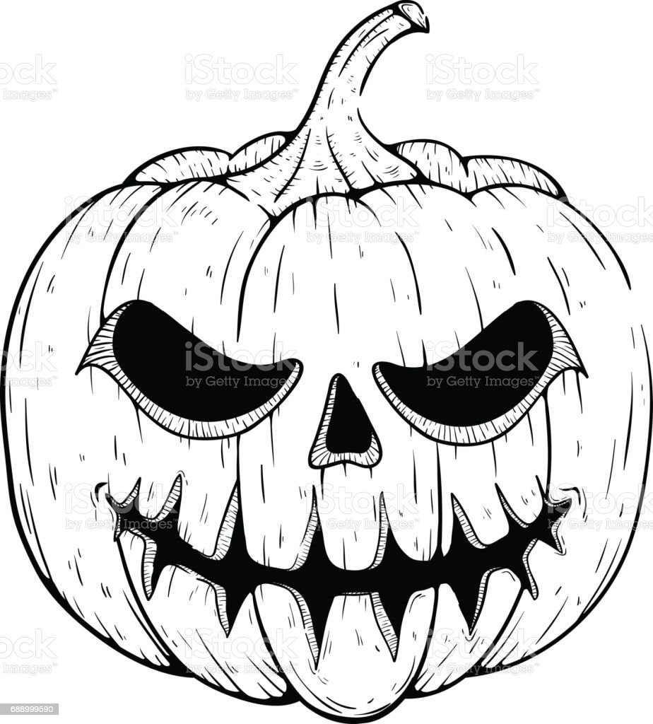 Halloween Pumpkin Drawing.Scary Halloween Pumpkin With Smile And Sketchy Style Stock
