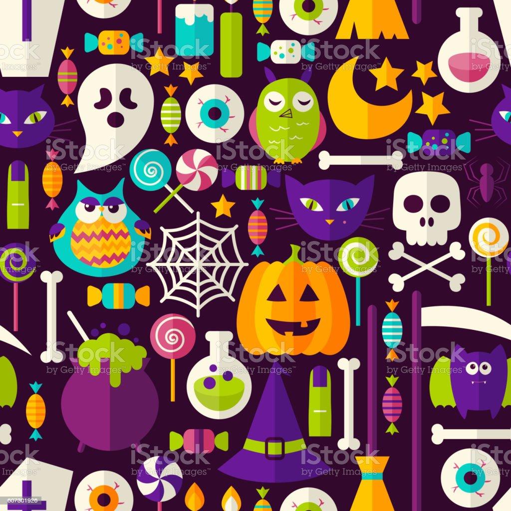 Scary Halloween Seamless Background vector art illustration