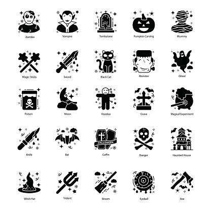 Scary Halloween Solid Icons Pack