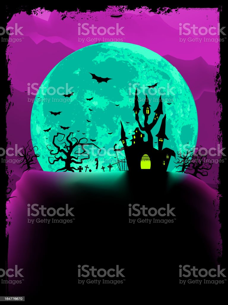 Scary halloween vector with magical abbey. EPS 8 royalty-free stock vector art