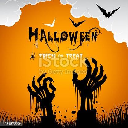 istock Scary Halloween Zombie Hands. 1281872204