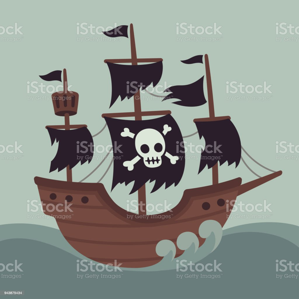 Scary Haunted Pirate Ship Stock Vector Art More Images Of
