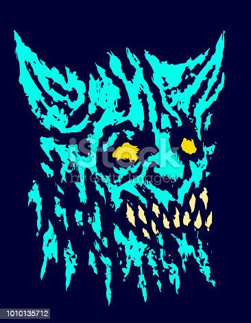 Scary head of horned demon with protruding fangs. Vector illustration. Scary monster character