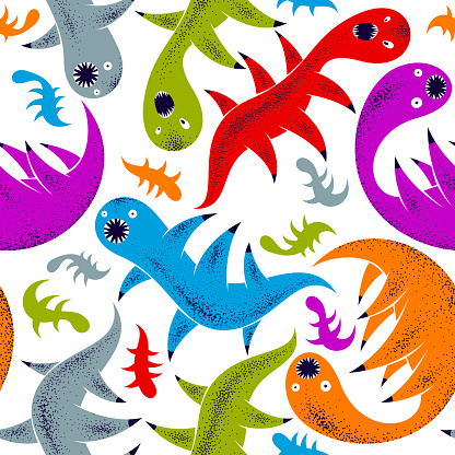 Scary horror monsters seamless vector textile pattern, beasts creatures endless wallpaper, stylish background for Halloween theme, funny picture.