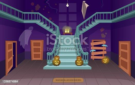 istock Scary house with stairs, ghosts,  doors, pumpkins. Halloween сartoon vector illustration. 1256874564